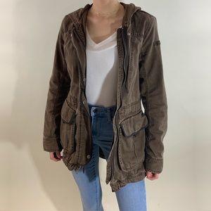 Abercrombie & fitch brown denim parka jacket